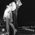 Seaport Village Statue Black and White WWII Statue Embracing Peace Embracing Peace Statue San Diego Sailor and Nurse Kiss Kiss Kissing WWII Memorial WWII Navy Armed Forces War Peace