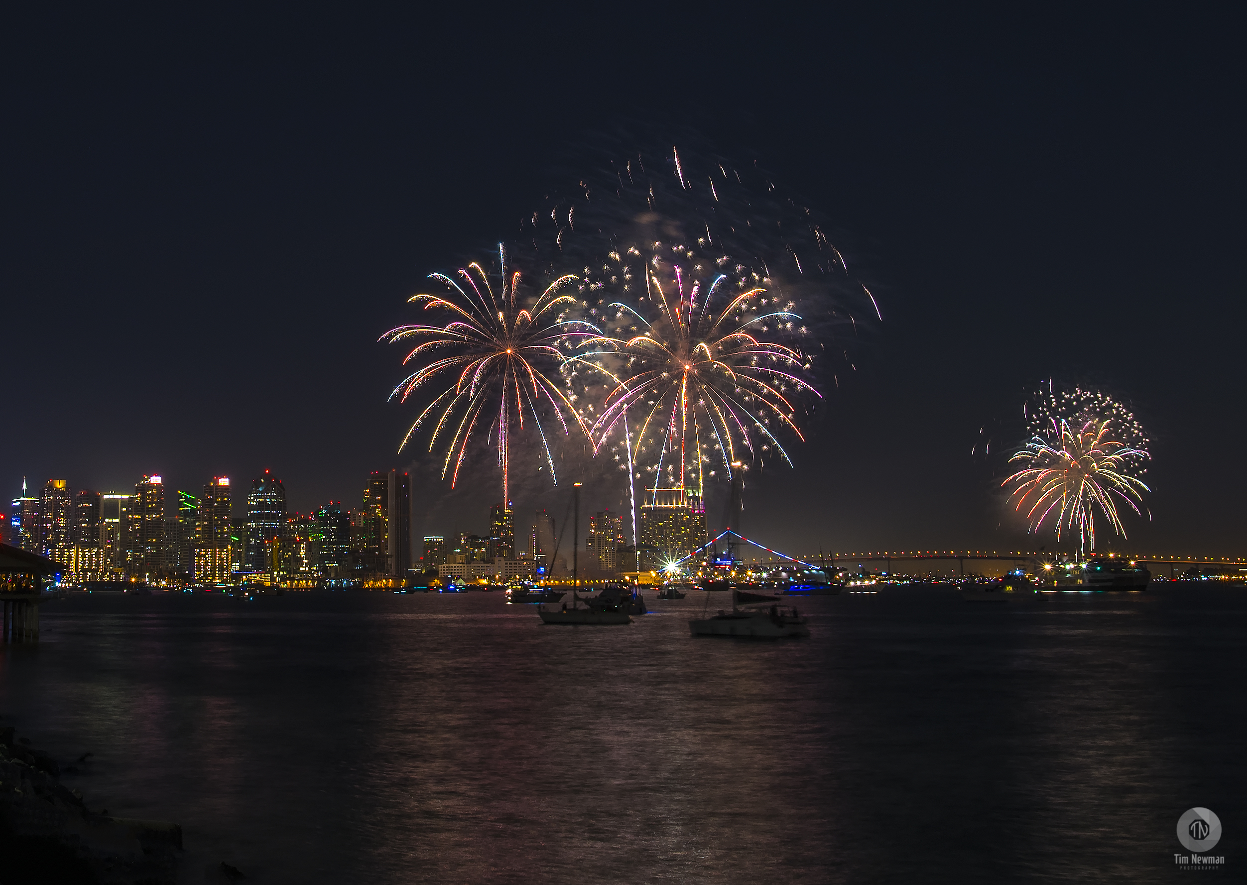 Fireworks 4th of July Independence Day Night Photography Night Photograph San Diego Downtown San Diego Reflections Water Reflections