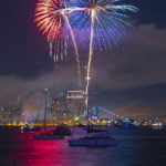 Fireworks 4th of July Independence Day Night Photography Night Photograph San Diego Downtown San Diego Reflections Water Reflections Red White and Blue