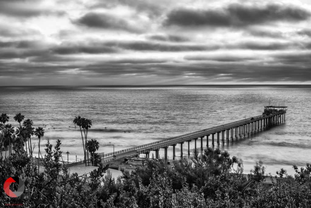 Black and White Black and White Clouds Black and White Sky Clouds Scripps Pier La Jolla Ocean Pier Pacific Ocean Pier San Diego California